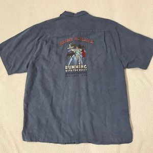 Blue TOMMY BAHAMA Silk Embroidered Top XL